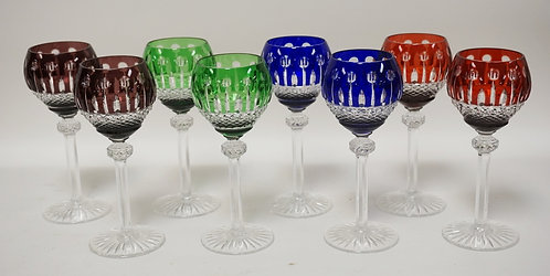 SET OF 8 COLOR CUT WINE GLASSES. 7 3/4 INCHES HIGH.