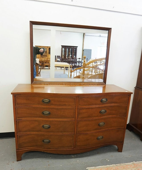HENREDON MAHOGANY CHEST OF DRAWER WITH MIRROR. SERPENTINE FRONT. 56 3/4 INCHES W