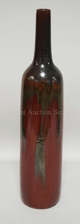 LARGE ART POTTERY VASE WITH A THICK DRIP GLAZE AND A TAPERED NECK. 20 1/2 INCHES