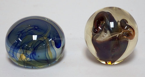 LOT OF 2 SIGNED ART GLASS PAPERWEIGHTS. ONE BY ED NESTERUK AND THE OTHER BY R.W.