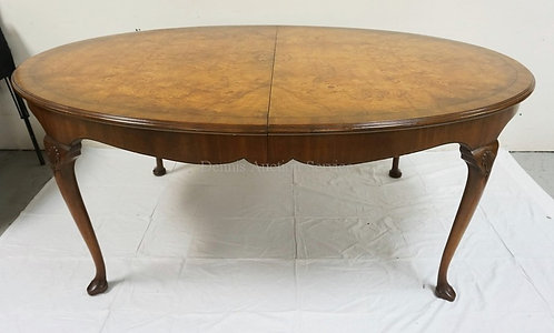 KITTINGER DINING TABLE WITH 3 SKIRTED LEAVES. 48 X 72 INCH TOP WITH BOOK MATCHED