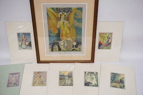 7 PIECES OF CHARLES HALLOWAY ORIGINAL ARTWORK. WATERCOLOR PAINTINGS INCLUDING CO