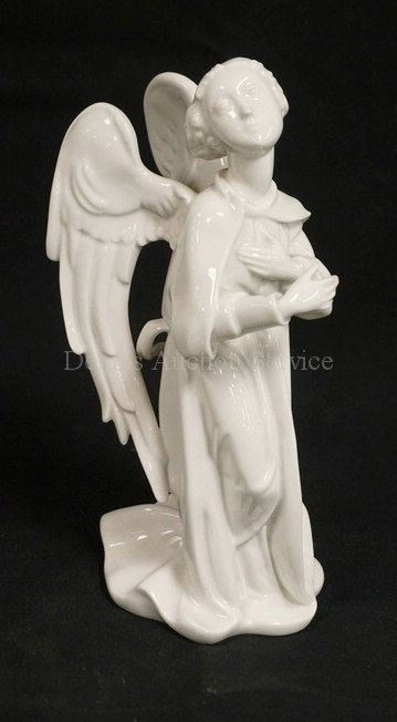 KPM PORCELAIN FIGURE OF AN ANGEL. 8 3/4 INCHES HIGH.
