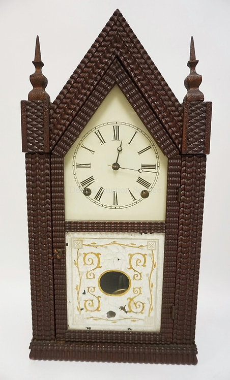J.C. BROWN RIPPLE FRONT STEEPLE CLOCK MEASURING 20 INCHES HIGH AND 10 1/4 INCHES