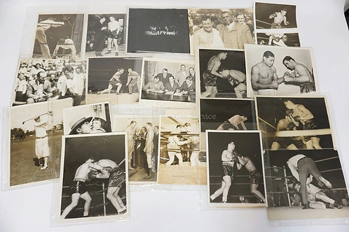 LOT OF 19 VINTAGE PRESS PHOTOGRAPHS. ALL BOXING RELATED INCLUDING JOE LOUIS, GUS