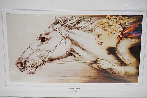 LOUIS ICART *THOROUGHBREDS* PRINT. UNFRAMED. 30 1/4 X 16 3/4 INCH IMAGE.
