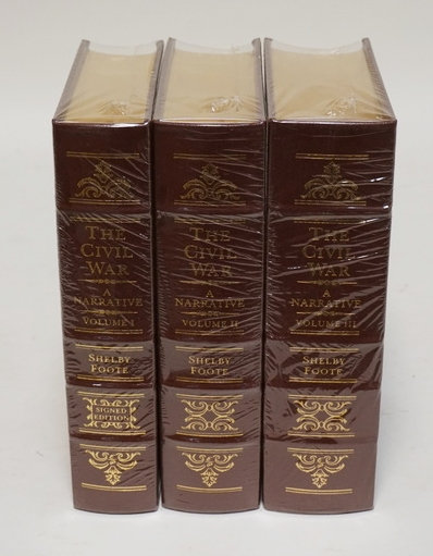 3 VOLUME SET BY THE EASTON PRESS. *THE CIVIL WAS* BY SHELBY FOOTE. LEATHER BOUND