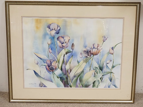 WATERCOLOR PAINTING OF FLOWERS. SIGNED *CAROL FREZZA* 86. LOWER LEFT. 28 3/4 X 2