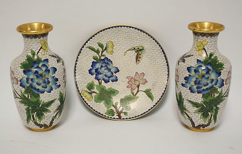 3 PIECE LOT OF MATCHING CLOISONNE INCLUDING TWO 6 5/8 INCH VASES AND A 6 1/2 INC
