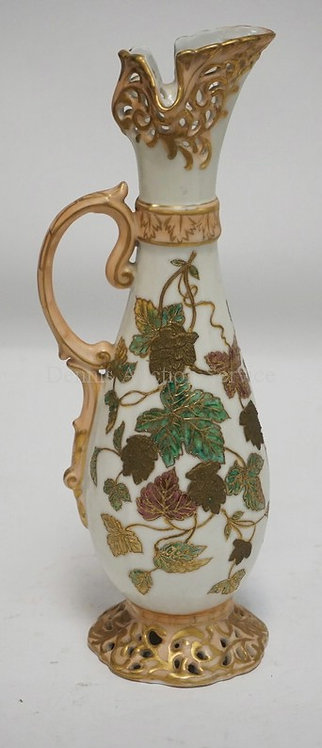 HAND PAINTED PORCELAIN EWER DECOARTED WITH LEAVES. UNMARKED. 12 1/2 INCHES HIGH.