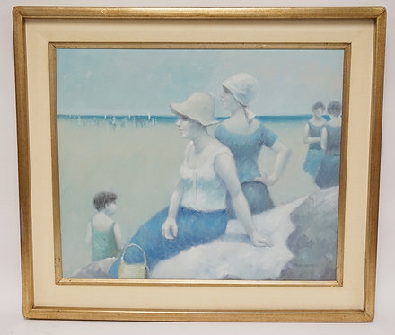 JEAN DAUMIER PAINTING ON CANVAS OF A FAMILY AT THE BEACH. SIGNED LOWER RIGHT. 23