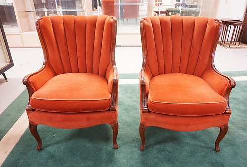 1072_PAIR OF UPHOLSTERED LOUNGE CHAIRS. 37 INCHES HIGH. 26 1/2 INCHES WIDE.