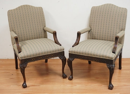 PAIR OF CARVED MAHOGANY ARMCHAIRS WITH CHIPPENDALE STYLE CAVINGS AND BALL & CLAW