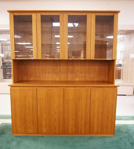 MODERN TEAK CHINA CABINET. LIGHTED INTERIOR WITH GLASS SHELVES