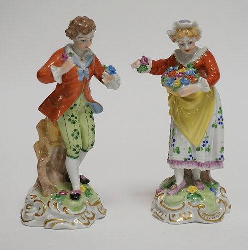PAIR OF DRESDEN PROCELAIN FIGURES MEASURING 5 7/8 INCHES HIGH.