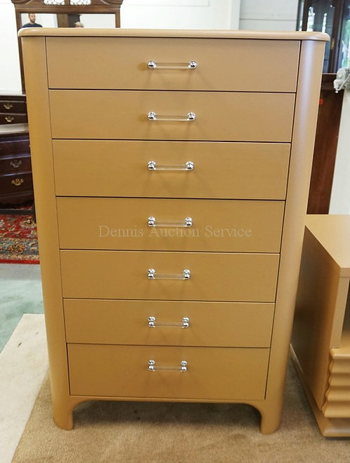 MODERN HIGH CHEST OF DRAWERS WITH LUCITE PULLS. 48 INCHES HIGH. 31 INCHES WIDE.