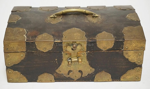 BRASS BOUND ASIAN DOME TOP BOX WITH LOCK. 10 1/8 X 6 AND 4 INCHES HIGH.