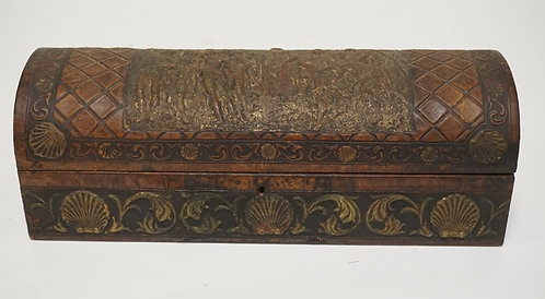 ITALIAN LEATHER DOME TOP BOX WITH A PRESSED AND TOOLED DECORATION INCLUDING NYMP