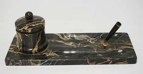 MARBLE DESK STAND WITH PEN STAND, LIDDED JAR, AND PEN WELLS. 14 X 6 AND 5 INCHES