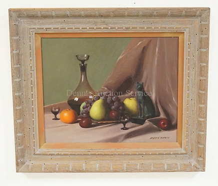 HERBERT E. ABRAMS (CT, 1921-2003). STILL LIFE PAINTING ON BOARD OF FRUIT, GLASSW