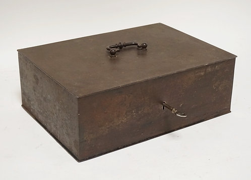 ANTIQUE STEEL CASH BOX WITH KEY. 13 1/2 X 9 3/4 AND 4 3/4 INCHES HIGH.