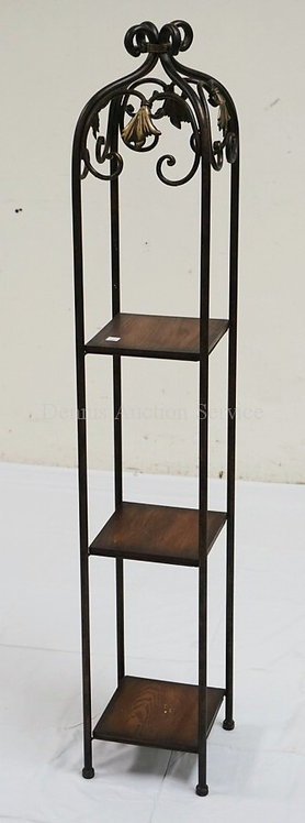 3 TIER NARROW STAND WITH A WROUGHT METAL FRAME AND OAK SHELVES. 50 3/4 INCHES HI
