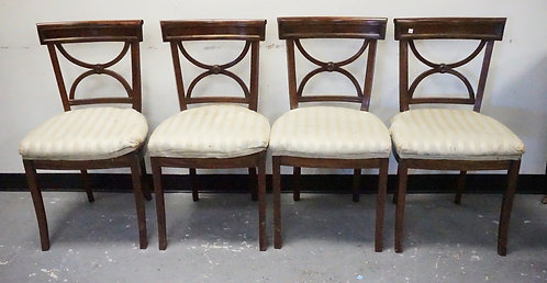 SET OF 4 ANTIQUE EMPIRE MAHOGANY CHAIRS WITH BRONZE INLAY.