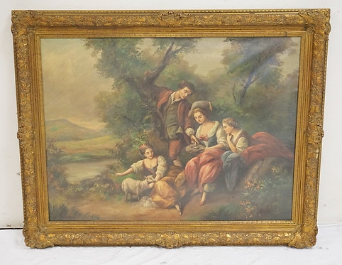 OIL PAINTING ON CANVAS OF A GROUP OF PEOPLE IN A LUSH LANDSCAPE WITH A LAMB AND