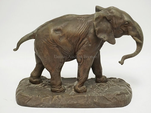 WHITE METAL SCULPTURE OF AN ELEPHANT BY CHARLES VOLTON. COPYRIGHT 1906 BY E.G. H