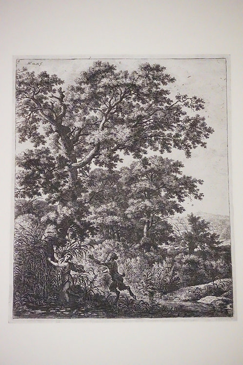 ANTONI WATERLO (1609-1690) ETCHING OF A WOODED LANDSCAPE FEATURING A PAN FIGURE