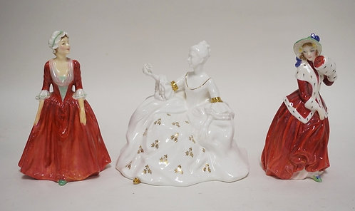 LOT OF 3 ROYAL DOULTON PORCELAIN LADIES. TALLEST IS 7 INCHES.