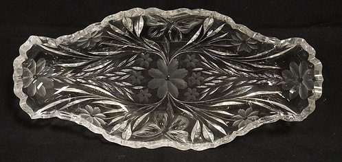 PAIRPOINT BUTTERFLY CUT GLASS CELERY TRAY. MINOR RIM ROUGHNESS. 12 IN X 5 1/2 IN