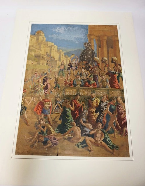 LARGE COLORED ENGRAVING OF A MEDIEVAL FESTIVAL. IMAGE IS 17 3/4 X 25 1/4