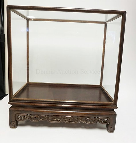 ASIAN STYLED DISPLAY CASE MEASURING 23 X 13 X 1/2 25 INCHES.
