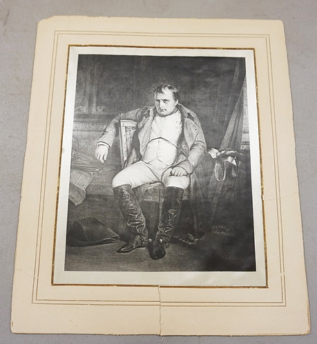 PRINT OF NAPOLEAN ON SILK. 7 3/4 X 9 1/2 IN