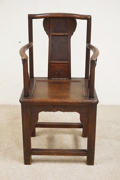 CARVED ASIAN HARDWOOD CHAIR. 42 INCHES HIGH. 22 3/4 INCHES WIDE.