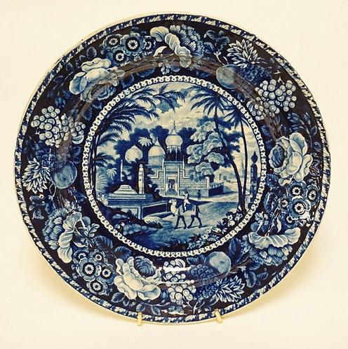 J. HALL & SONS ANTIQUE HISTORIC BLUE TRANSFERWARE PLATE. *MAHOMEDAN MOSQUE TOMB*