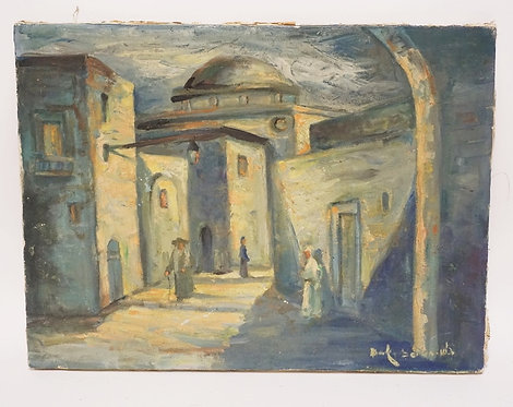 1179_OIL PAINTING ON CANVAS OF FIGURES AMONGST BUILDINGS. SIGNED UPPER RIGHT. 15