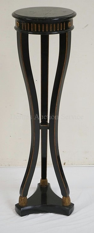 EBONIZED PEDESTAL WITH GOLD GILT ACCENTS. 13 1/2 INCH DIA. 46 INCHES HIGH.