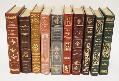LOT OF 10 FRANKLIN LIBRARY LEATHER BOUND BOOKS.