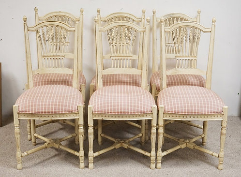 SET OF 6 DINING CHAIRS BY CENTURY. WHITE PAINTED FINISH. WHEAT CARVED SPLATS.