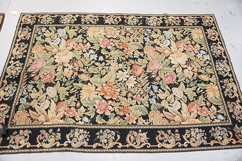 FLORAL NEEDLEPOINT RUG MEASURING 9 FT X 5 FT 11 INCHES. HAS SMALL SPOTS OF WEAR.