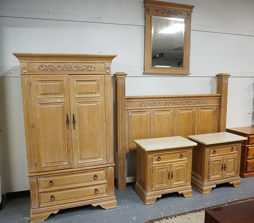 5 PIECE OAK BEDROOM SET. KING SIZE BED, ARMOIRE, MIRROR, AND 2 MARBLE TOP CHESTS