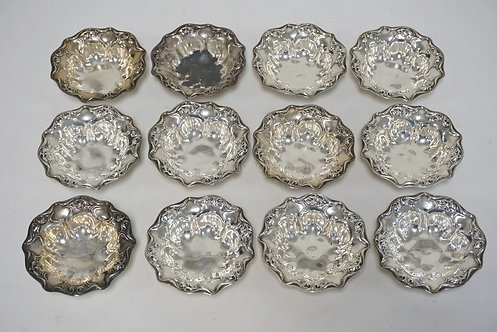 SET OF 12 WALLACE STERLING NUT DISHES. 3 1/2 INCH DIA, 8.44 TROY OZ.