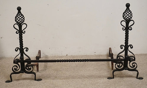 WROUGHT IRON FIREPLACE ANDIRON SET. 29 INCHES HIGH.