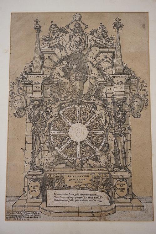 17TH C. OR EARLIER PRINT. *TRIUMPH OF DEATH* GIOVANNI FORTUNA (FORTUNIUS). HAS R