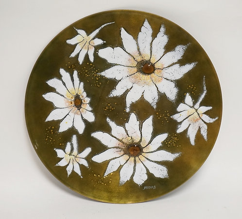 SASCHA BRASTOFF ENAMEL ON COPPER CHARGER DECORATED WITH FLOWERS. 13 1/2 INCH DIA