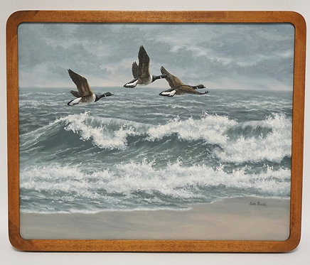 BETH PARCELL OIL PAINTING ON CANVAS OF DUCKS FLYING OVER WAVES BREAKING ON A BEA