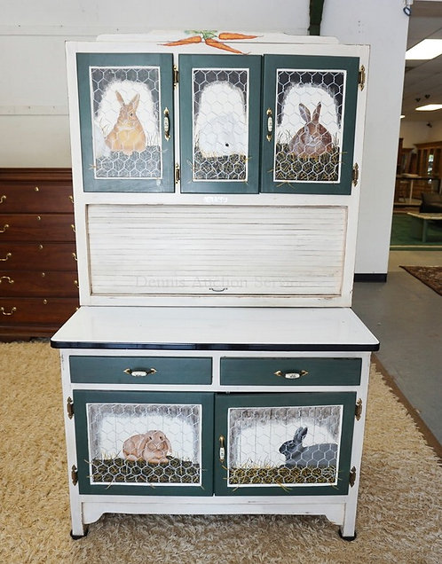 MEARSH HOOSIER STYLE CABINET WITH A TAMBOUR DOOR, ENAMEL TOP, AND HAND PAINTED D