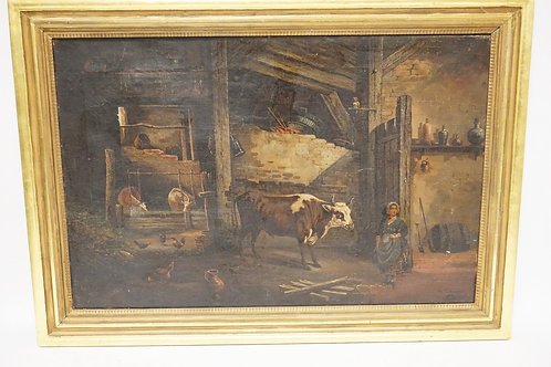 G. SCHNEIDER OIL PAINTING ON CANVAS OF THE INTERIOR OF A BARN DEPICTING A WOMAN,